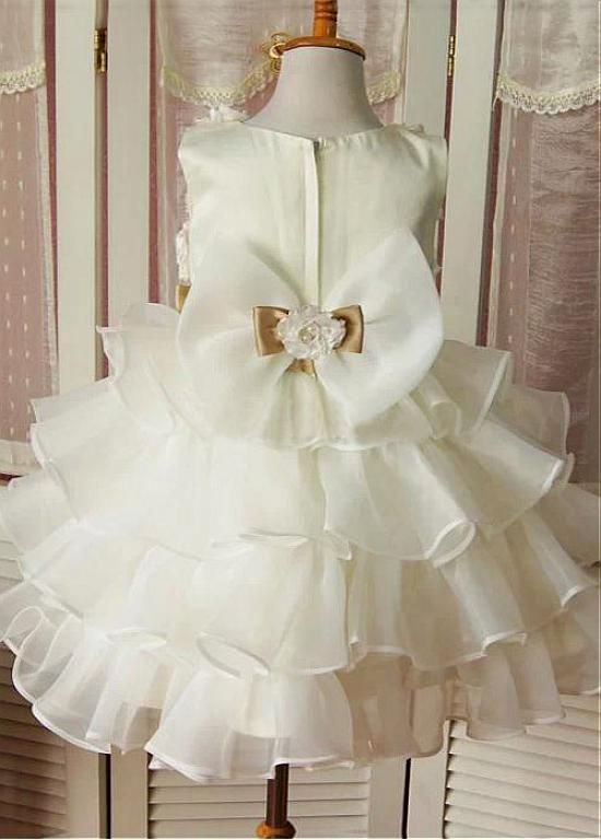 Angelic Ball Gown Tiered Organza Flower Girl Dresses with Bow Sash