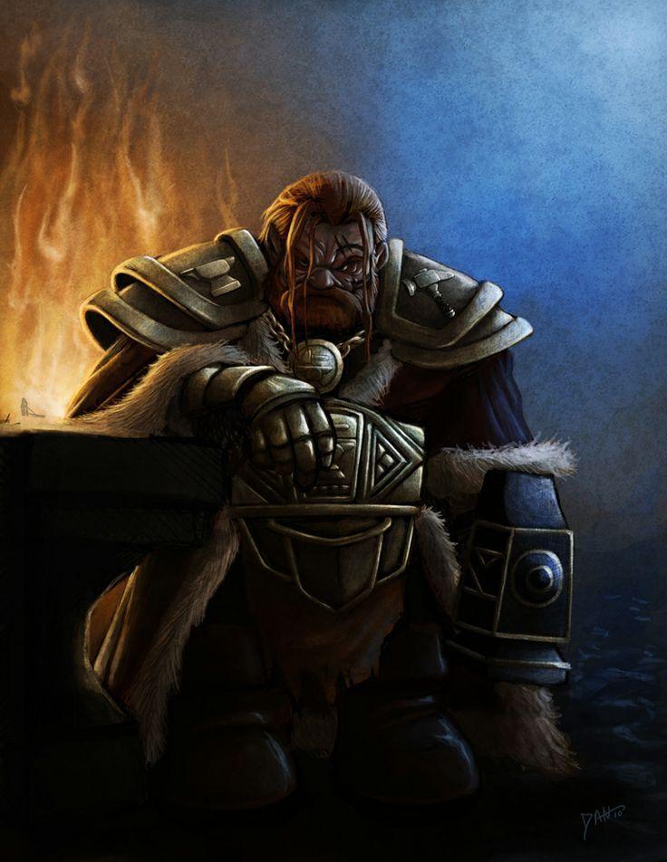 dwarf, armor, hammer, fire