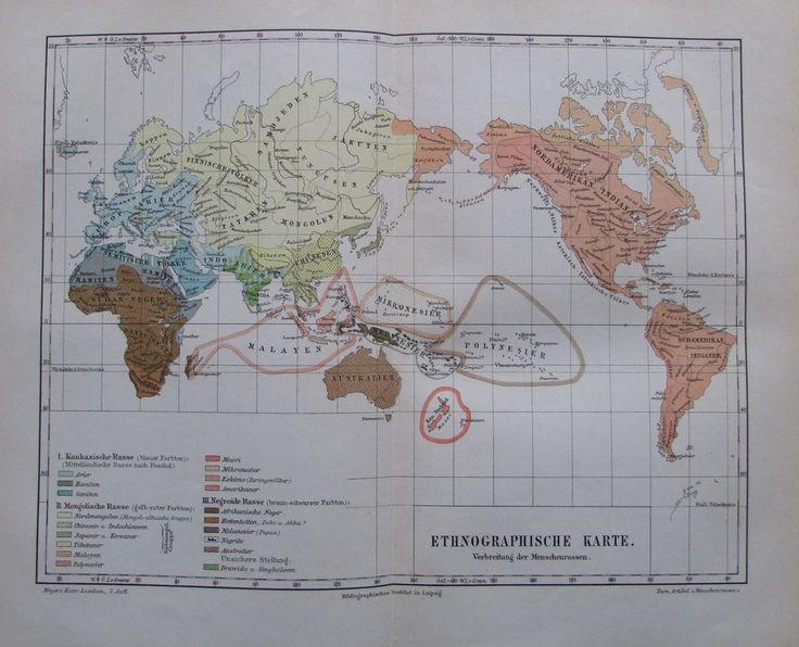 ETHNOGRAPHISCHE KARTE MENSCHENRASSEN 1894 Historische Alte Landkarte Map Litho