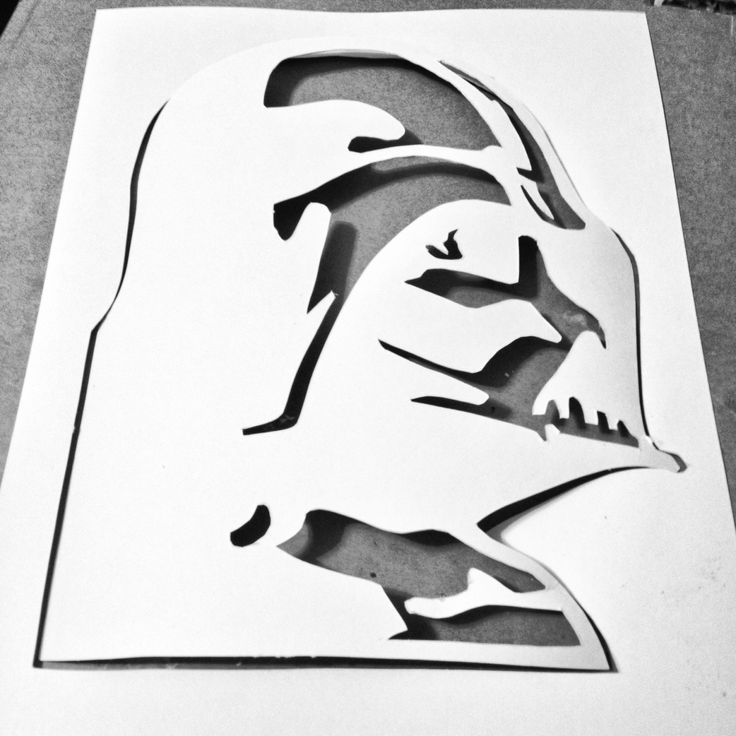 DIY Darth Vader Stencil  Print out then cut with exacto knife