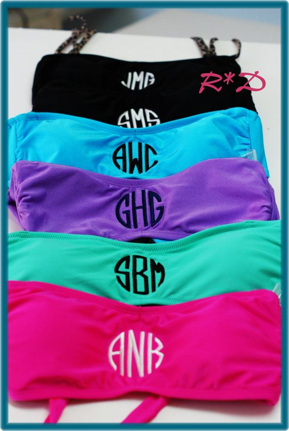 Monogrammed Bandeau Swimsuit Juniors Bathing Suit Top Only Aqua Pink and Black