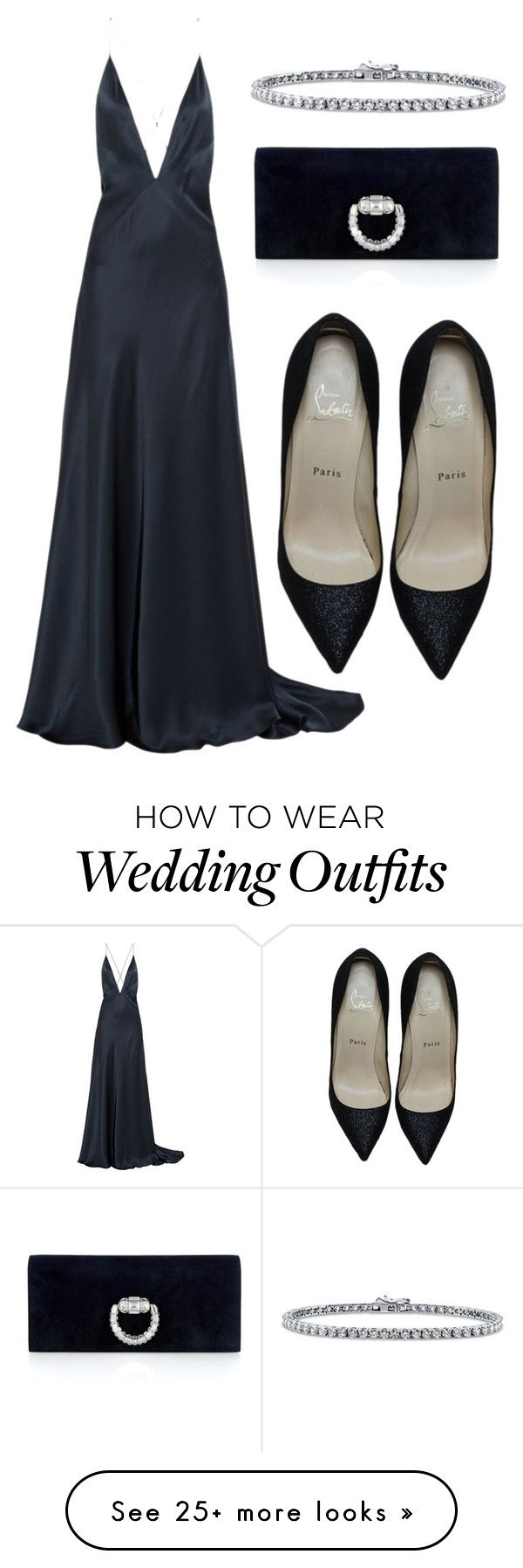 """Black tie wedding guest"" by style-embassy on Polyvore featuring Michael Lo Sordo, Christian Louboutin, Gucci and BERRICLE"