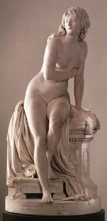 Augustin Pajou. Psyche Abandoned. 1790.    Marble.    Musée du Louvre. Paris, France.