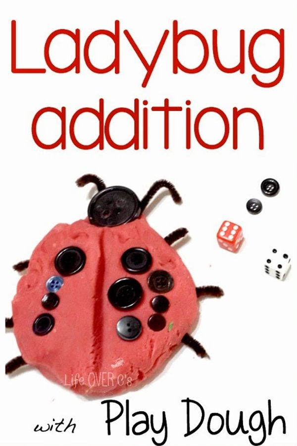 Bugs are insects - ladybug addition with play dough part of the Story Book Summer hands on book based activities for Kids from the book Bugs are Insects