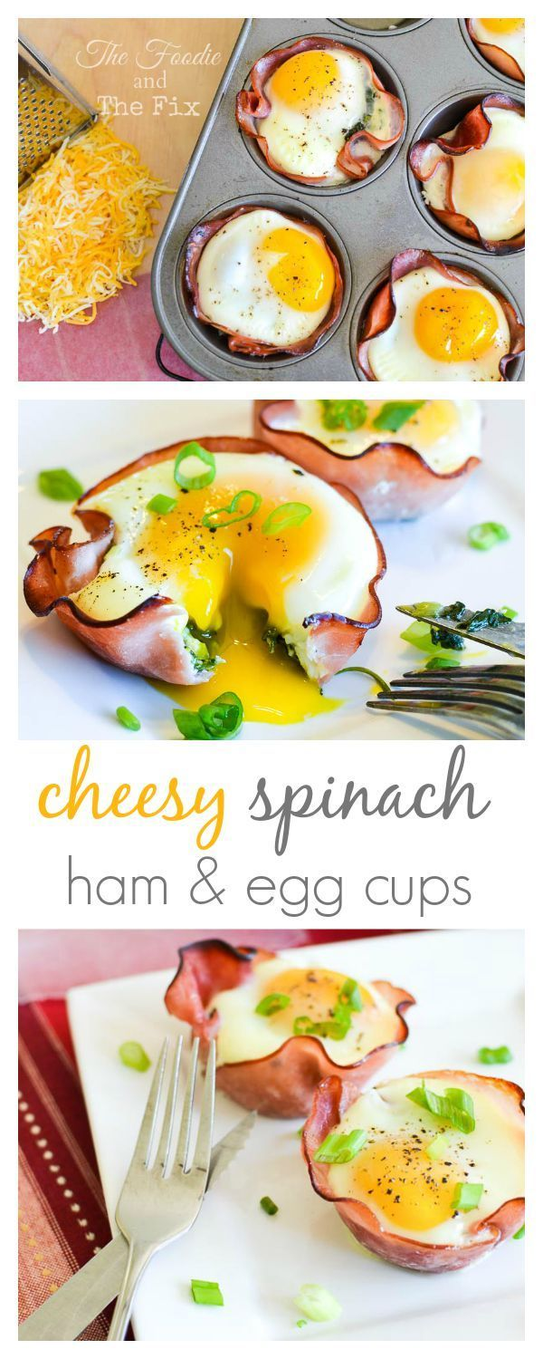 Cheesy Spinach Ham & Egg Cups - This easily made-ahead, perfectly portioned recipe has so much fantastic flavor going on with a rich, runny egg, the cheesy spinach and smoky ham, that no one will know (or care) that they're also secretly healthy!