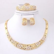 Free Shipping, Fashion African Wedding Bridal Necklace Sets Vintage 18K Gold Plated  Women Party Costume Jewelry Sets(China (Mainland))