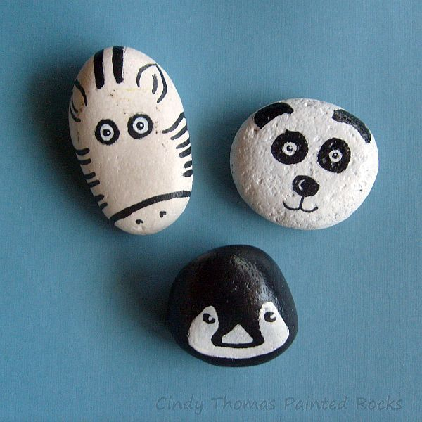 black-white-zoo-painted-rocks-CindyThomas_original.jpg (600×600)
