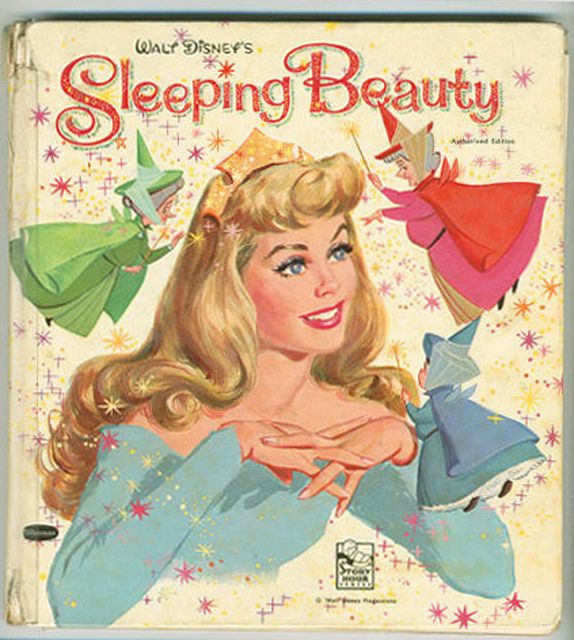 Sleeping Beauty (1959) Whitman Children's Book.  Whitman Book, 1959. Probably cost a quarter. (Maybe $0.50, it was a Deluxe Edition....)  Aurora has that '50s populuxe Jon Whitcomb look in this unusual cover illustration!