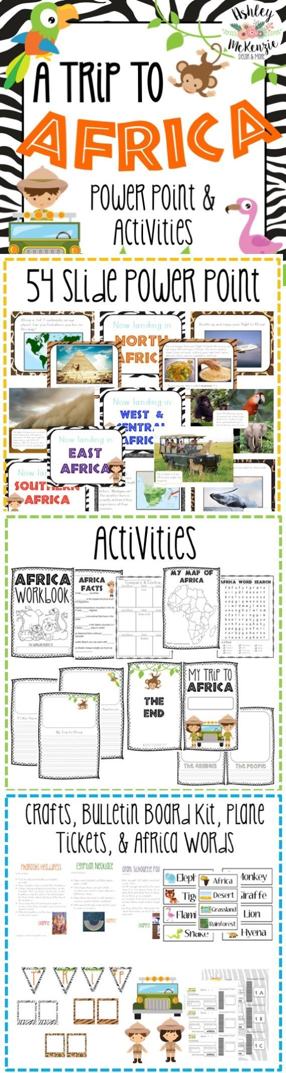 Trip to Africa Power Point and activities unit. Fun social studies unit for elementary students!