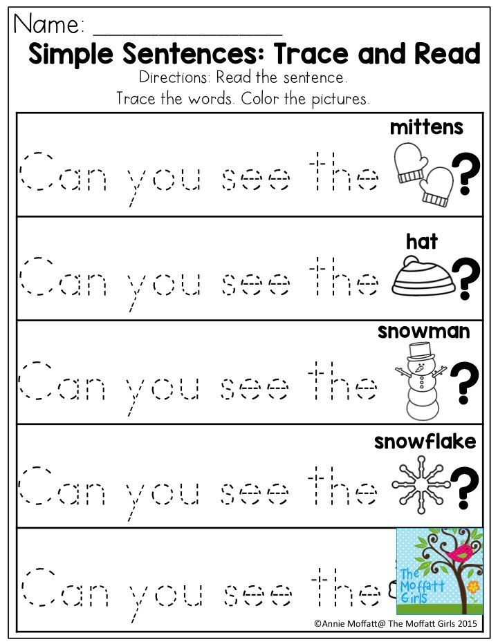 simple sentences  trace and read  great sight word