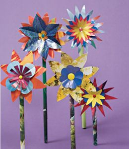 Glossy Paper, Crafts Ideas, For Kids, Flower Crafts, Paper Flowers, Kids Crafts, Recycle Crafts, Spring Crafts, Paper Crafts