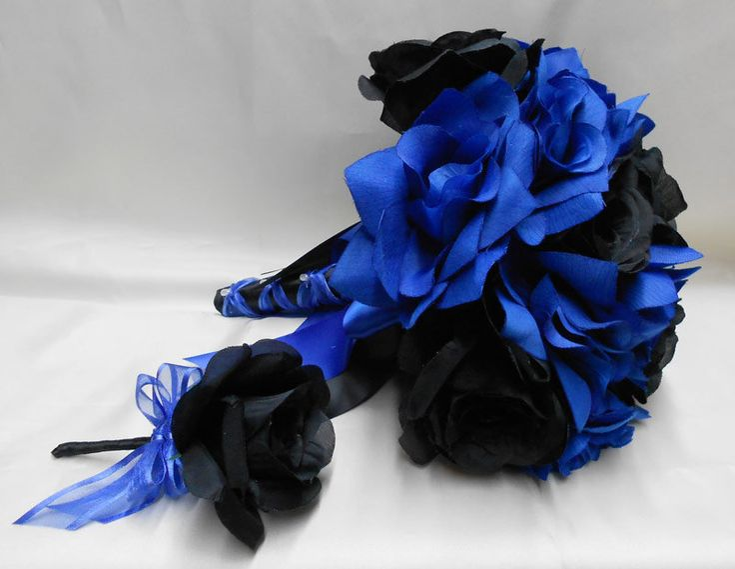 Royal Blue Rose Bouquet Wedding