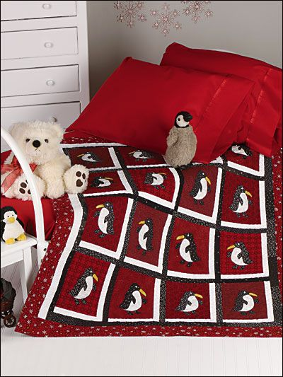 "This cold-weather quilt will have your child counting penguins instead of sheep at bedtime. Size: 44 1/2"" x 52 1/2"". Skill Level: Beginner"