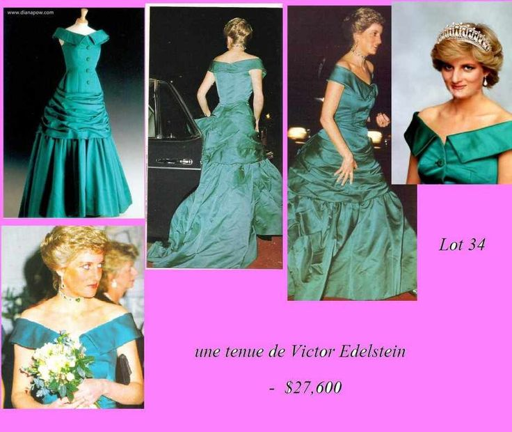 Designed by Victor Edelstein .Emerald green satin with a Victorian style and a full skirt. Diana wore this gown for one of her formal portraits. $27,600.00