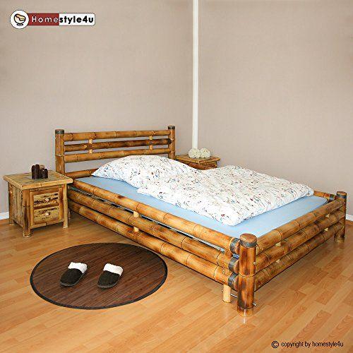 e3f58387c1 Homestyle4u Bambusbett Bambus Bett 140 x 200 braun massiv Doppelbett  Futonbett