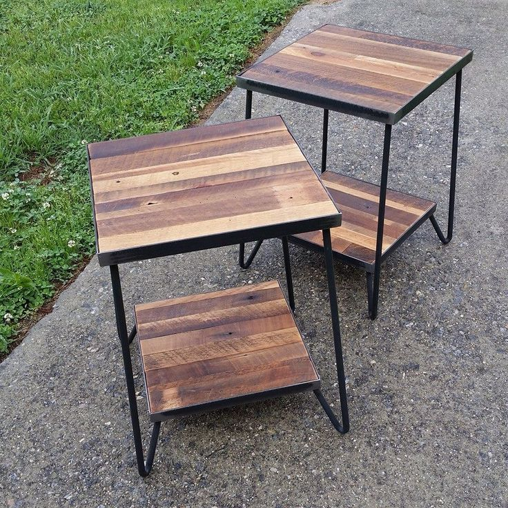 Sweet Little Side Tables Reclaimed Wood And Steel By