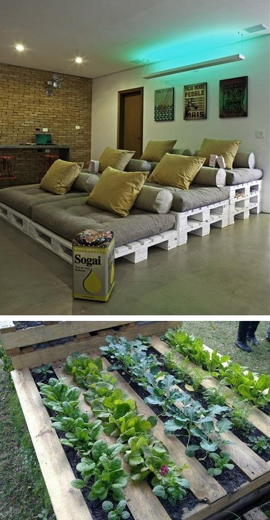 Uses for pallets.  Check out the lettuce growing...wish I had thought of this for HGE.// LOVE the bed/lounge space for the game room when kiddos are older for a movie or gaming area, maybe add barn doors or heavy curtains to divide from main living area?