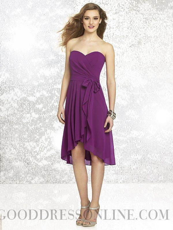 Shinning Sheath / Column Sweetheart Sashes / Ribbons Chiffon Bridesmaid Dresses