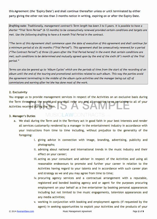 Artist Management Contract Template In 2020 Contract Template