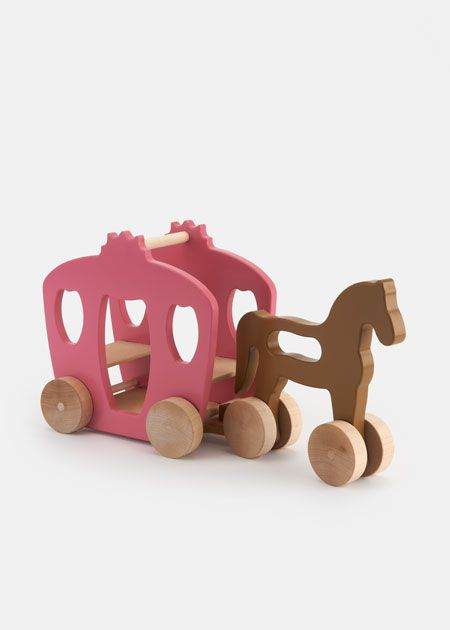 manny and simon Wooden Horse + Carriage Push Toy | Rodale's