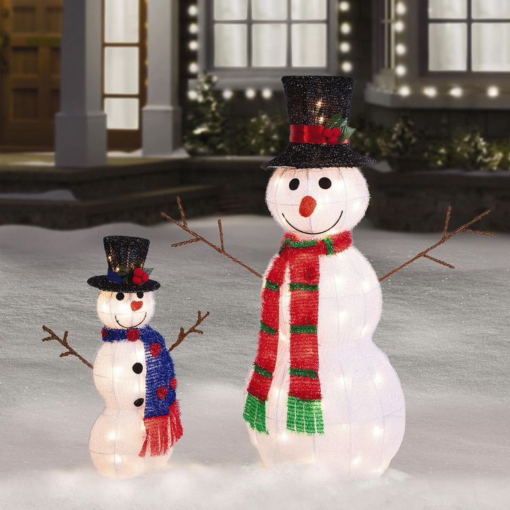 "35"" & 21"" Tall Pre Lit Tinsel Snowman Outdoor Christmas"