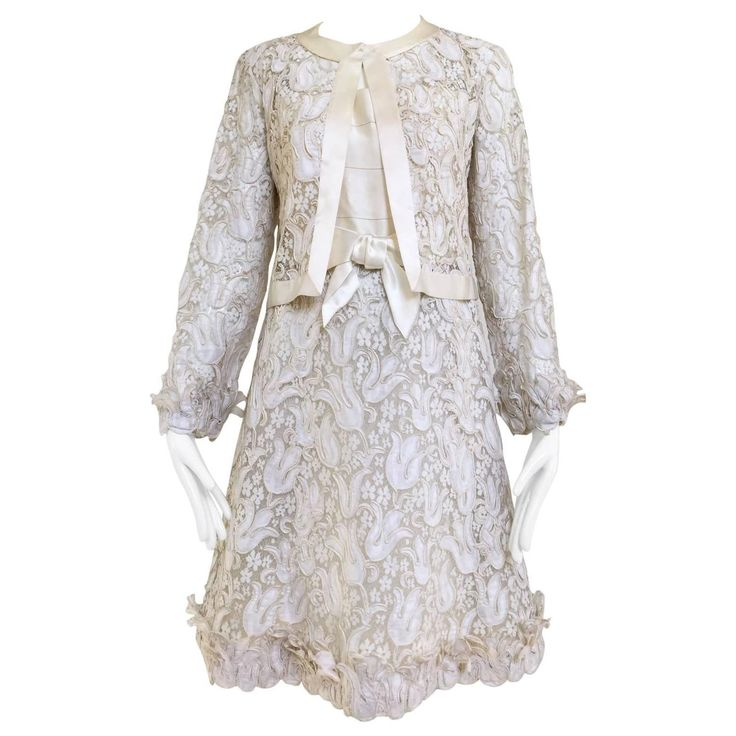 1960s CHANEL creme Darquer lace dress and jacket ensemble | 1stdibs.com