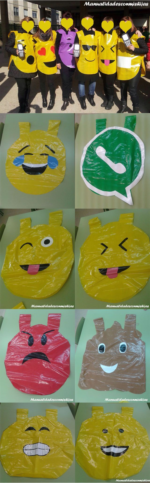 Manualidadesconmishijas: Whatsapp también en carnaval. Emoticonos realizados con bolsas plástico. Customes