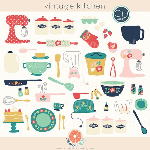 Vintage Kitchen Digital Clip Art - 36 Hand-Drawn Illustrations- Commercial Use - instant download