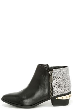 Circus by Sam Edelman Holt Black and White Leather Ankle Boots at Lulus.com!