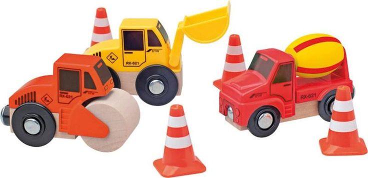 Woody set bouwmachines, leuk als uitbreiding bij de treinbaan en de garage! Te koop op mijn website;