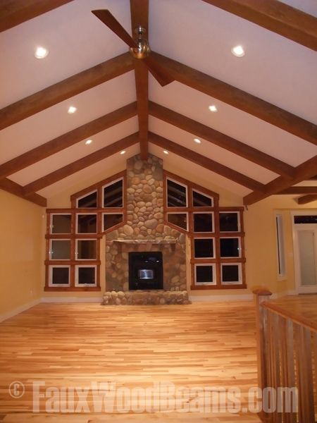 17 best design ideas great room images on pinterest for Fake wood beams for ceiling