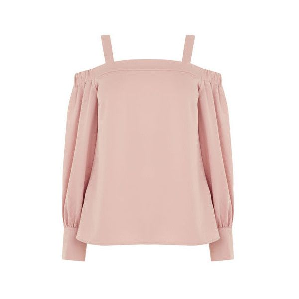 Warehouse Warehouse Strappy Bardot Top Size 6 (855 MXN) ❤ liked on Polyvore featuring tops, light pink, strappy top, spaghetti-strap tops, light pink top, warehouse tops and pink top