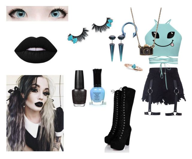 """""""Quinn"""" by rayofdarkness ❤ liked on Polyvore featuring Allurez, Bling Jewelry, Lime Crime, OPI, emo, OC, nugoth and GiveMeSuggestions"""