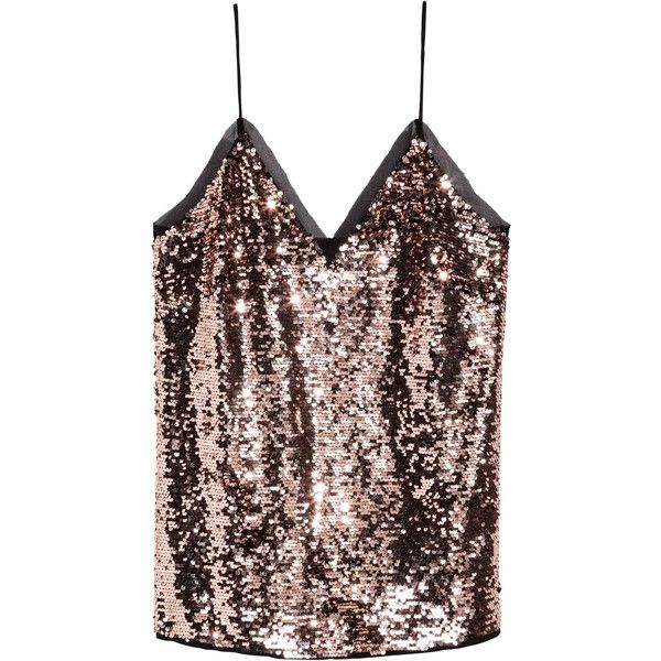 Top con ricami di paillettes ($42) ❤ liked on Polyvore featuring tops and chiffon tops