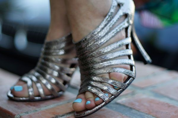 What to Wear to Cirque De Solei; silver snake strappy sandals
