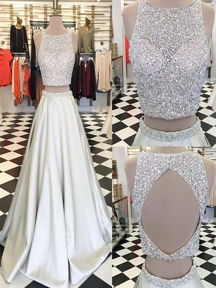 A Line Round Neck 2 Pieces Ivory Prom Dresses, 2 Pieces Formal Dresses, Party Dresses