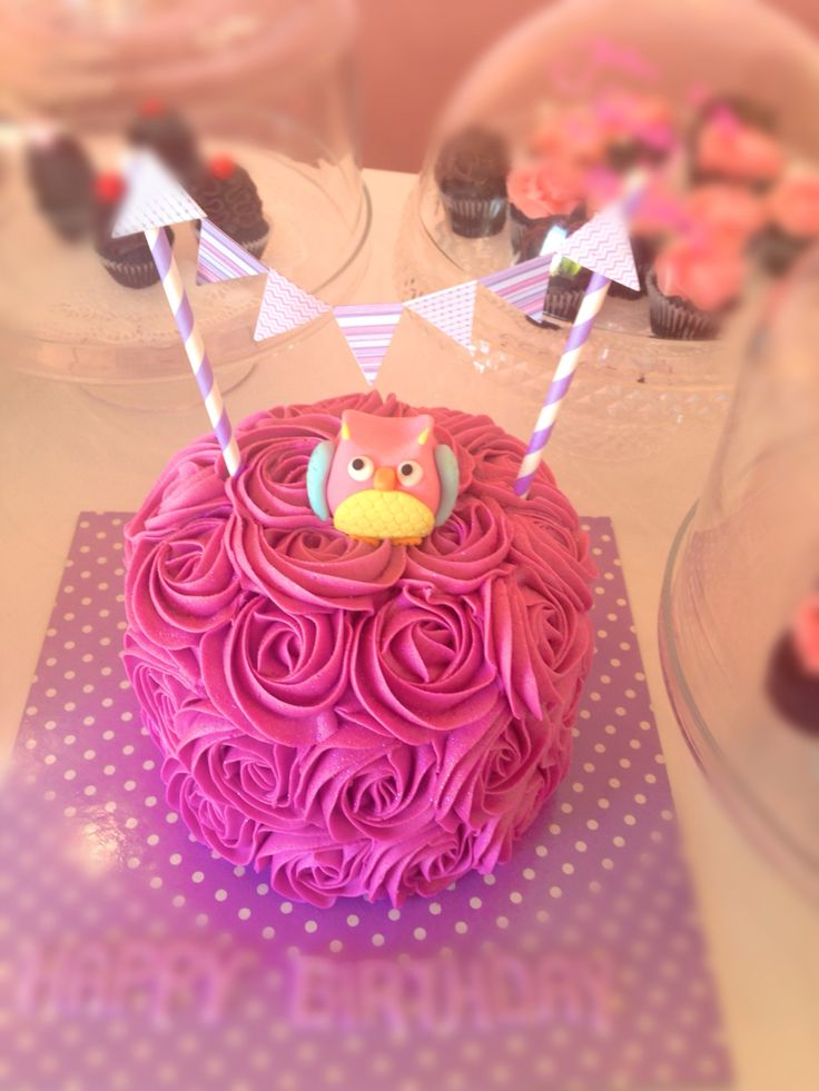 Owl rosette cake with bunting
