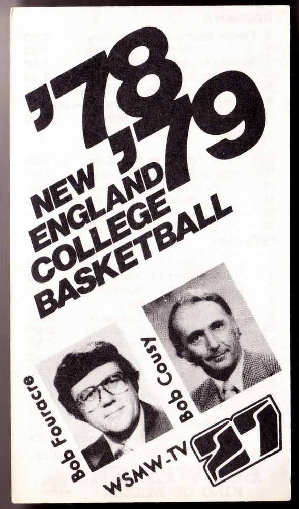 1978-79 WSMW-TV 27 NEW ENGLAND COLLEGE  BASKETBALL POCKET SCHEDULE BOB COUSY CVR #Pocket #PocketSchedules