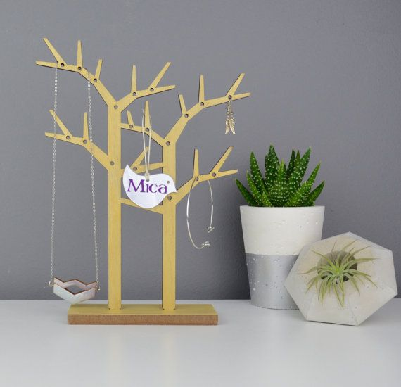 Trees Wood Necklace Holder Personalised