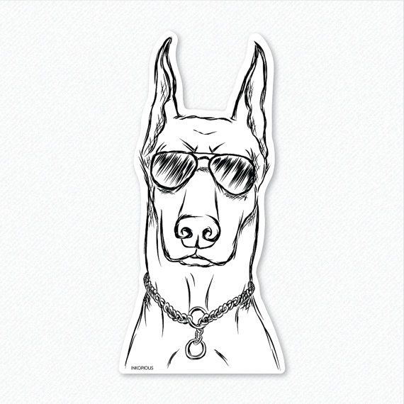 Ace  Doberman Pinscher  Decal Sticker by Inkopious on Etsy