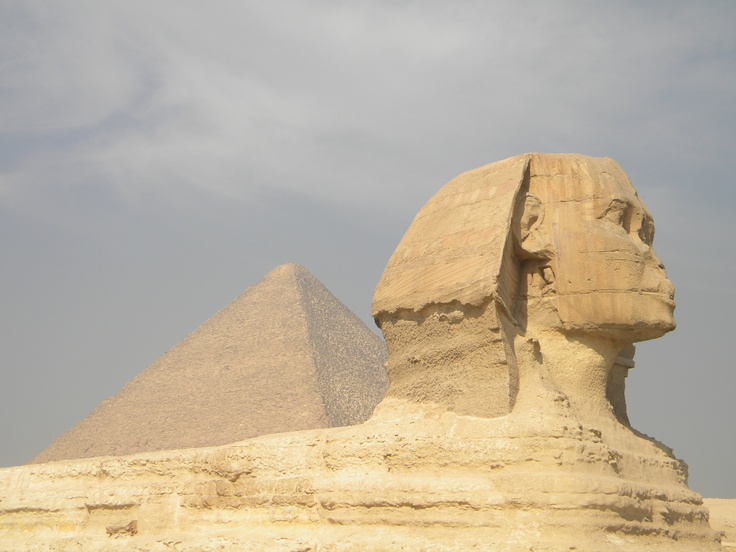 The Great Pyramid and Sphynx. Egypt