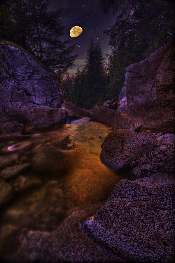 Moon Over Humphrey Falls - British Columbia