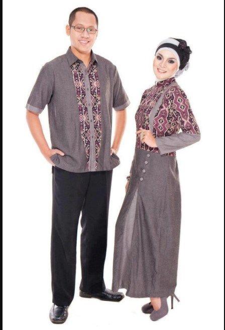 Baju Gamis Batik Kombinasi Polos Untuk Pesta Pernikahan Model