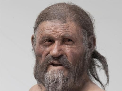 """""""Living Relatives of Iceman Mummy Found: Ötzi the Iceman has at least 19 living male relatives in the Austrian Tirol, according to a genetic study into the origins of the people who now inhabit the region."""" Shown: Facial reconstruction of Ötzi the Iceman. Credit: Heike Engel-21Lux/SÜdtiroler Archäologiemuseum"""" -- Click through for photo gallery and more information."""