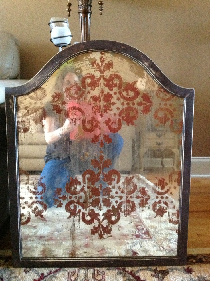 Antique mirror patina with stenciling