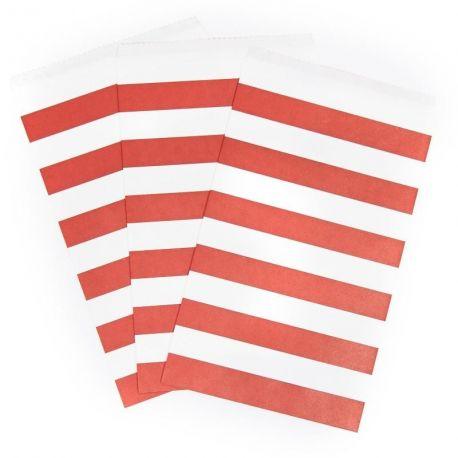 Bolsas rayas rojas
