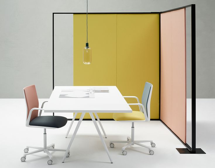 office in pastel colors with Parentesit space devider, new Meety table and Kinesit chairs, all by lievore altherr molina for arper.