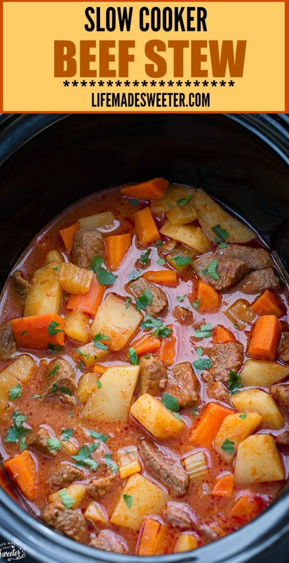 Slow Cooker Homemade Beef Stew makes the perfect comforting meal on a cold day. Tender beef, potatoes, carrots, and celery get simmered in low and slow in the crock pot for a hearty, rich flavor that can't be beat!