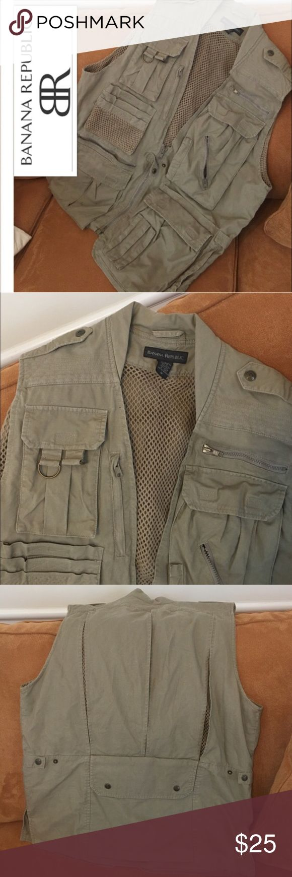 Banana Republic Safari Vest; Size Medium Banana Republic Safari Vest; Unisex & multi-functional; Size Medium; Great for hunting, photography, fishing or like me... just plain FUN WEAR!! Zip front, Sleeveless, 15 zippers or snaps. 100% cotton, vented mesh back, cinched sides. Zipper and hook & loop closure pockets. Made in The British Crown Colony of Hong Kong; Machine wash / tumble dry Banana Republic Jackets & Coats Vests