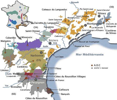 La carte des vins du Languedoc-Roussillon